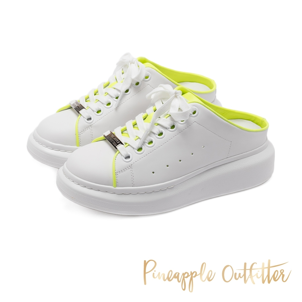 Pineapple Outfitter 搶眼玩色內裡 真皮穆勒小白鞋-黃色 product image 1
