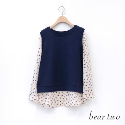 bear two- 印花小愛心假兩件上衣 - 藍