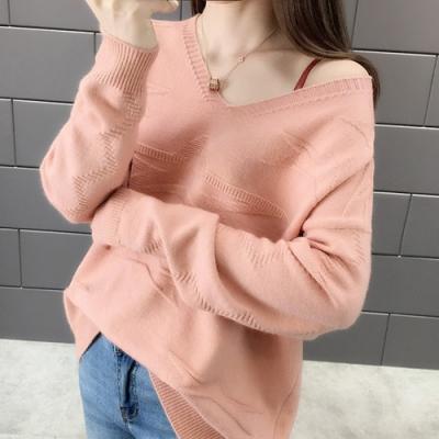 初色  純色低領薄款針織衫-共6色-(F可選)