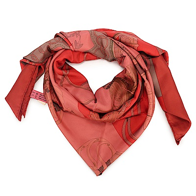 HERMES CLIQUETIS 劍柄馬具真絲披肩方型大絲巾圍巾-紅色