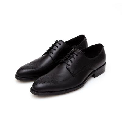 ALLEGREZZA-真皮男鞋-不凡品味-藝紋雕花質感德比鞋  黑色