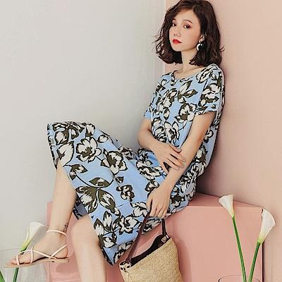 涼感滿版印花袖口反摺洋裝-OB大尺碼
