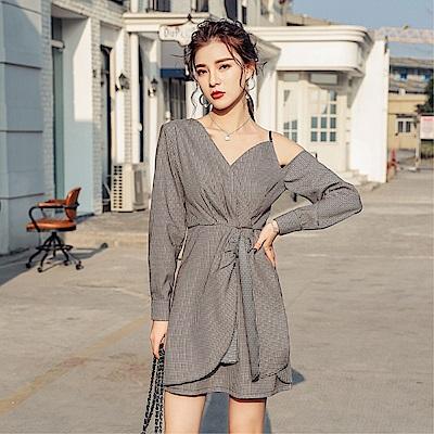 DABI 韓國風格紋裙不規則細肩帶繃帶包臀長袖洋裝