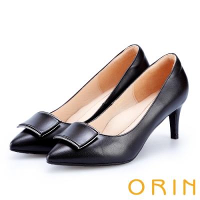 ORIN 時尚名媛 飾釦羊皮尖頭高跟鞋-黑色