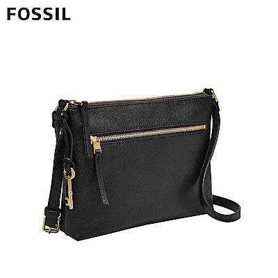 FOSSIL FIONA 真皮輕便休閒黑色斜背包 ZB7266001
