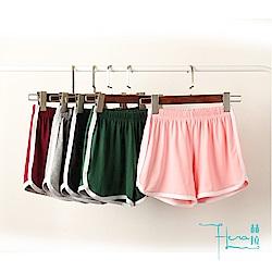 Lockers 木櫃 大尺碼 運動短褲女夏季休閒純色三分褲韓版熱褲