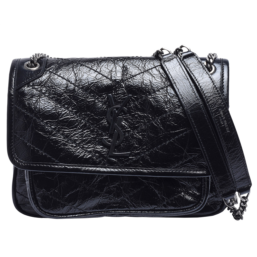 YSL 經典NIKI BABY系列黑色金屬LOGO霧銀鍊揉製漆皮皮翻蓋肩/斜背包(黑)