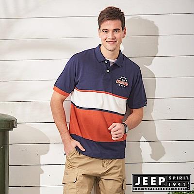 JEEP 經典美式風格短袖POLO衫-藍色