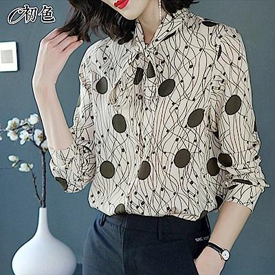 初色  時尚印花雪紡襯衫-共3色-(M-2XL可選)