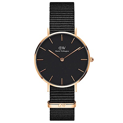 DW手錶 官方旗艦店 32mm玫瑰金框 Classic Petite 寂靜黑尼龍帆布手錶
