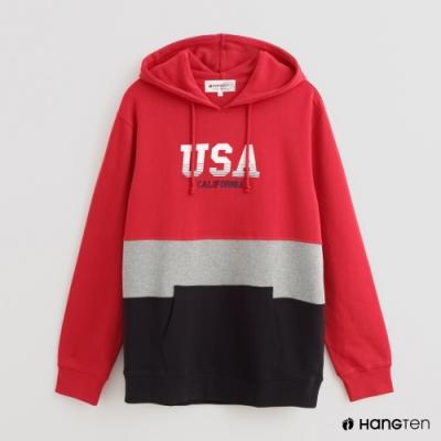 Hang Ten - 男裝 - 撞色拼接字母印花長袖帽T - 紅