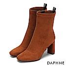 達芙妮DAPHNE 短靴-質感絨面幾何車線時尚方跟靴-棕