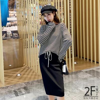 2F韓衣-兩件式條紋上衣半身裙套裝-黑(S-L)