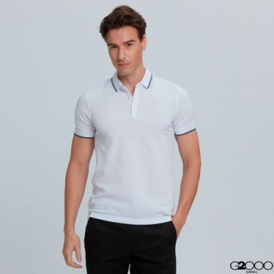 G2000素面網眼短袖polo衫-白色