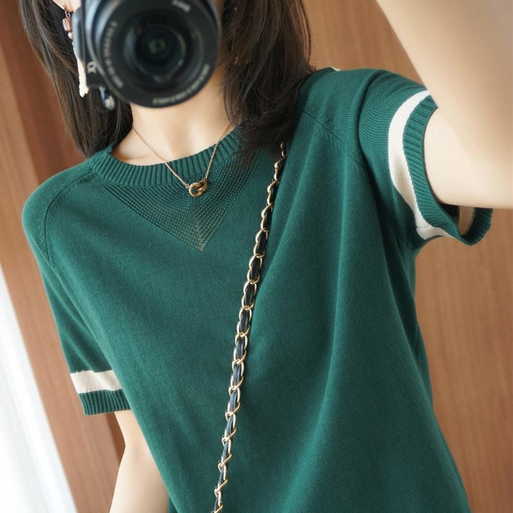 ALLK 歐楷 超彈力配色針織上衣 共11色(尺寸F 任選) (墨綠色)