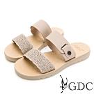 GDC-春夏簍空細緻波浪側扣飾一字拖鞋-米色