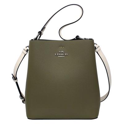 COACH橄欖綠荔枝紋全皮雙層肩背/斜背中款水桶包