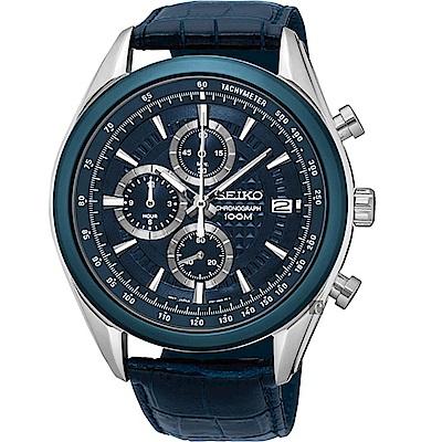 SEIKO 精工飆速快感大錶徑運動腕錶/45MM/藍/8T67-00A0L/SSB177P