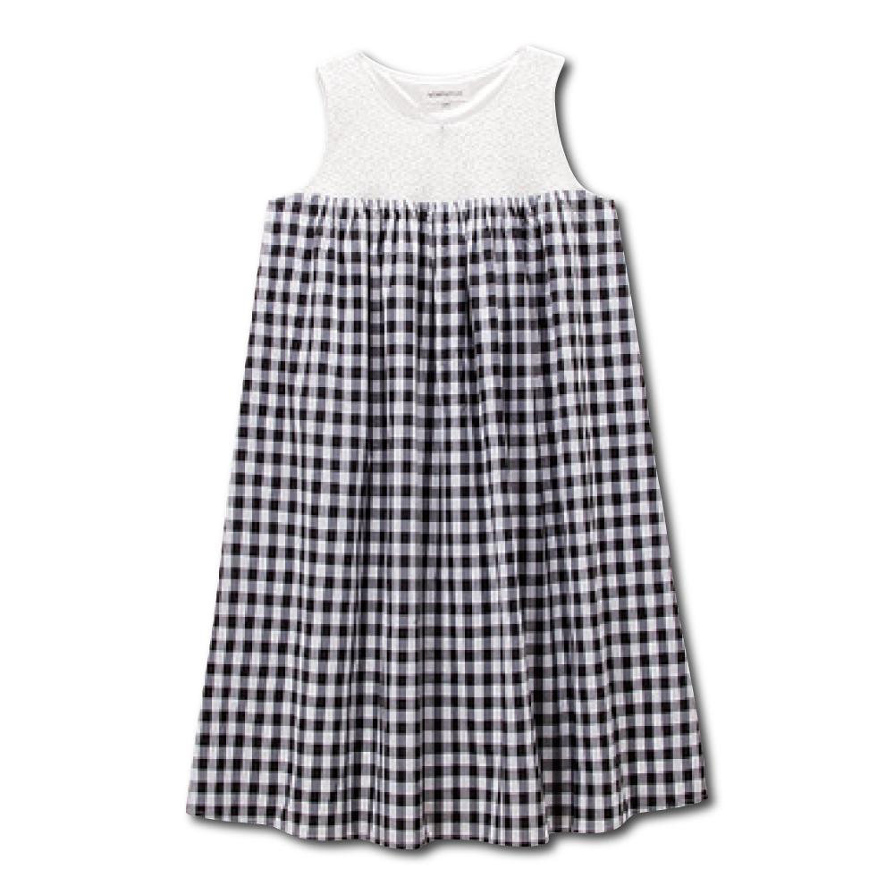 日本雜誌款-蕾絲格紋無袖孕婦洋裝 product image 1