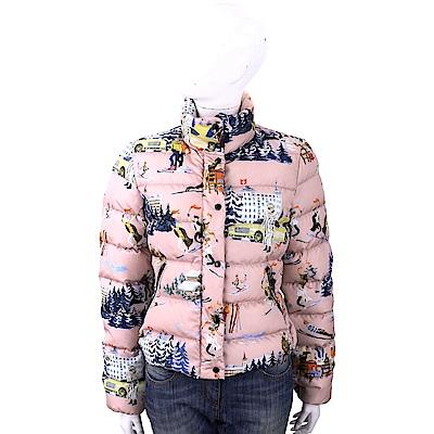 MONCLER Clairette 瑞士彩繪印花粉色羽絨外套(女款)