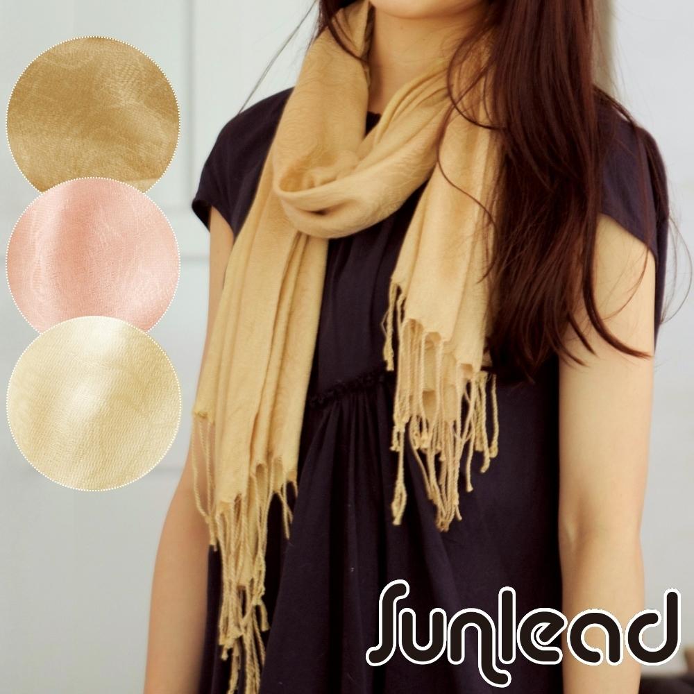 Sunlead 遠紅外線保暖防寒長版玫瑰織紋緹花披肩/圍巾