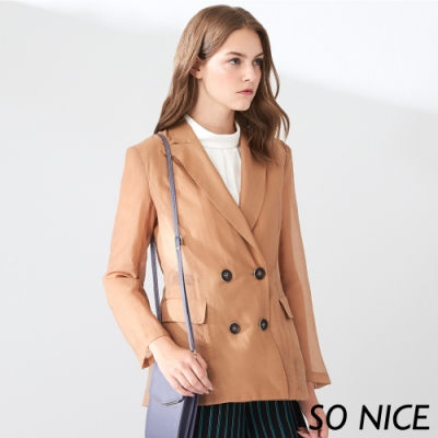 SO NICE時尚仿木釦微透西裝外套