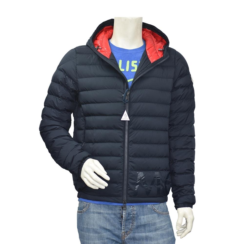 MONCLER 經典DREUX系列品牌LOGO輕盈絎縫羽絨拉鍊連帽外套(男-海軍藍)