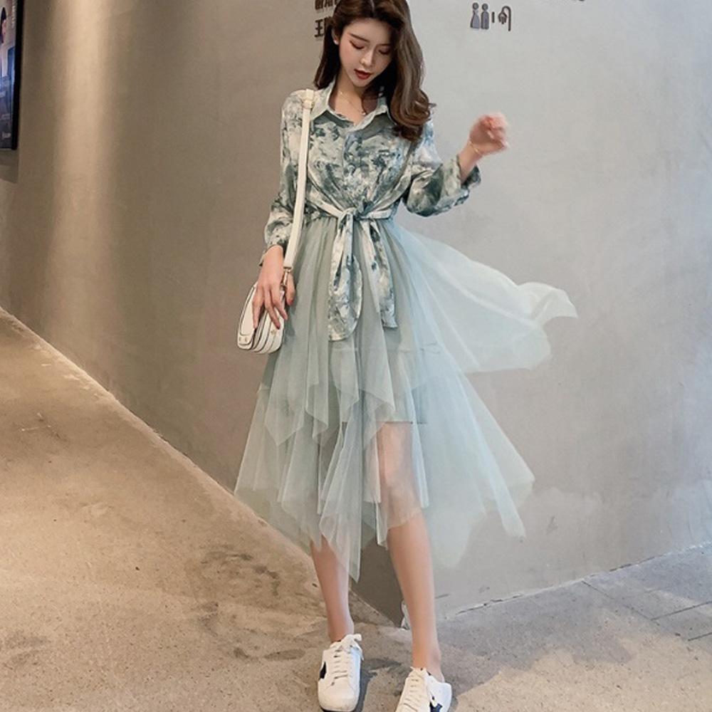 IMStyle 襯衫+網紗拼接連身裙套裝(2色-水墨綠、水墨藍)(顯瘦款)