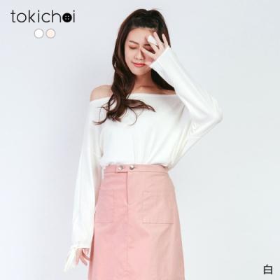 東京著衣 微糖甜美袖口綁帶一字領/平口上衣-S.M.L