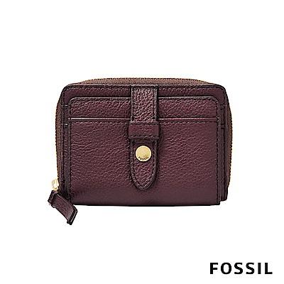 FOSSIL FIONA 真皮系列拉鍊零錢短夾-酒紅色