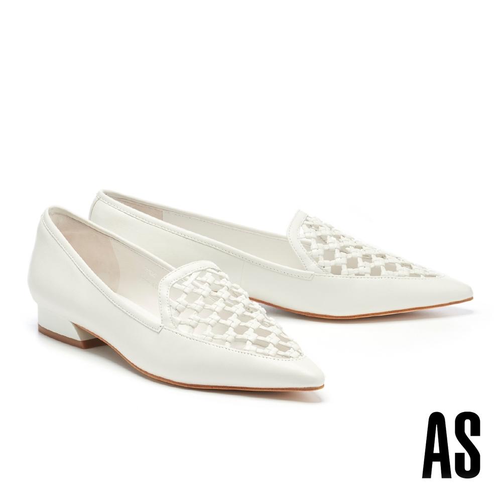 低跟鞋 AS 細緻工藝編織風情全真皮尖頭樂福低跟鞋-白