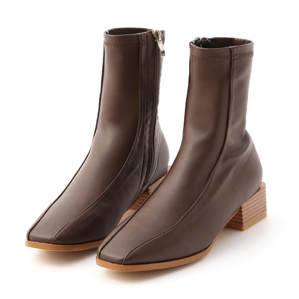 D+AF 美拍風格.雙摺線木紋跟襪靴*咖