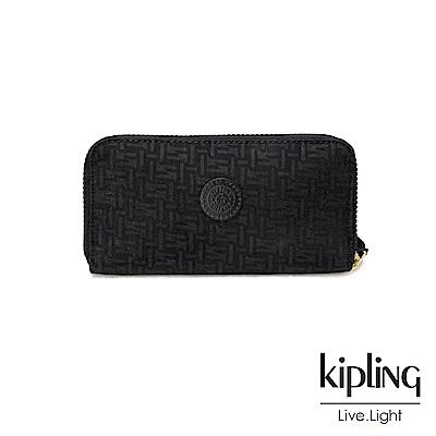 Kipling黑色幾何紋路多卡層長夾-ALIA