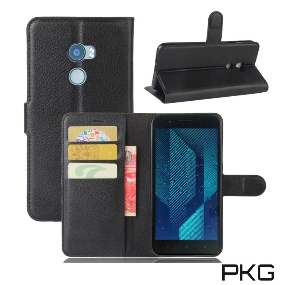 PKG HTC X10側翻式-精選皮套-經典款式-黑