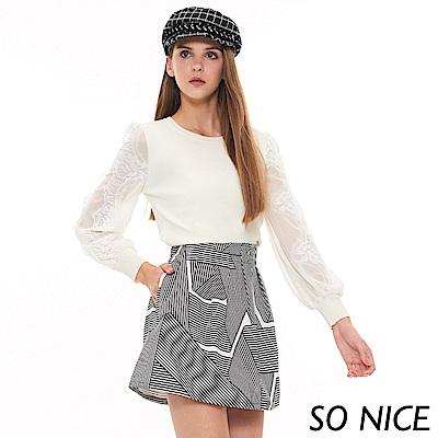 SO NICE優雅透膚蕾絲袖針織上衣
