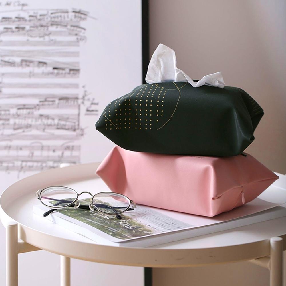 【收納職人】創意北歐ins風皮革紙巾盒/收納袋_粉紅色