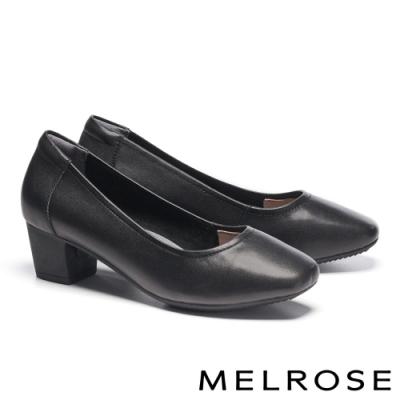 高跟鞋 MELROSE 簡約質感純色牛皮方頭高跟鞋-黑