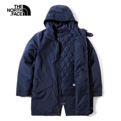 The North Face北面男款藍色防水保暖三合一外套|3VUIH2G