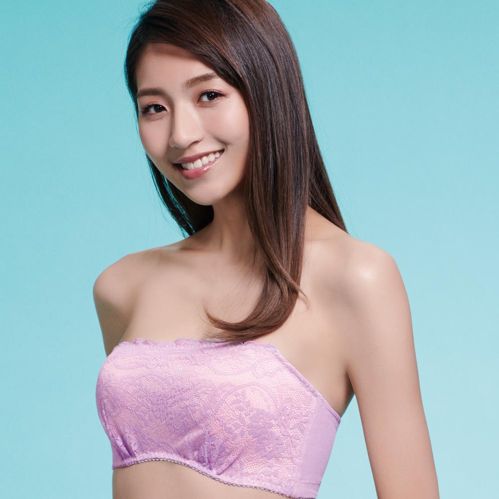 推EASY SHOP-愛上夢幻蕾絲 抹胸款B-D罩內衣(水漾紫)