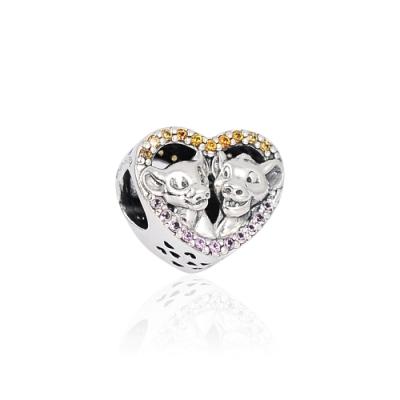 Pandora 潘朵拉 迪士尼系列 辛巴與娜娜鑲鋯愛心 純銀墜飾 串珠