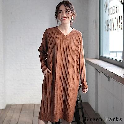Green Parks 溫暖V領羅紋針織連身裙