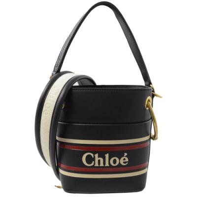 CHLOE Roy Mini 印字LOGO兩用小水桶包(藍黑)