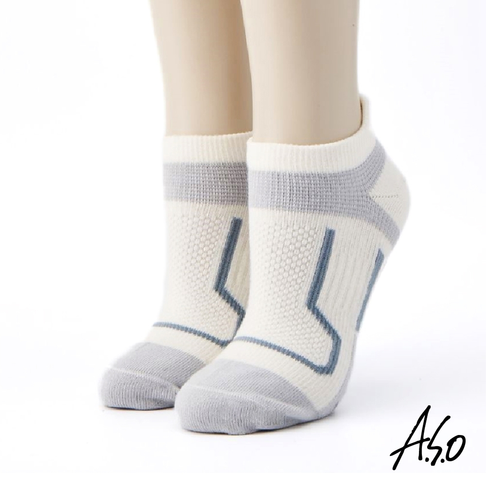 A.S.O長效抑菌系列-運動船型襪-白色