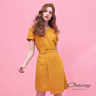 OUWEY歐薇 透氣亞麻活片造型剪裁洋裝(黃)