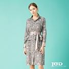【IGD 英格麗】獨特剪裁綁帶小立領印花洋裝