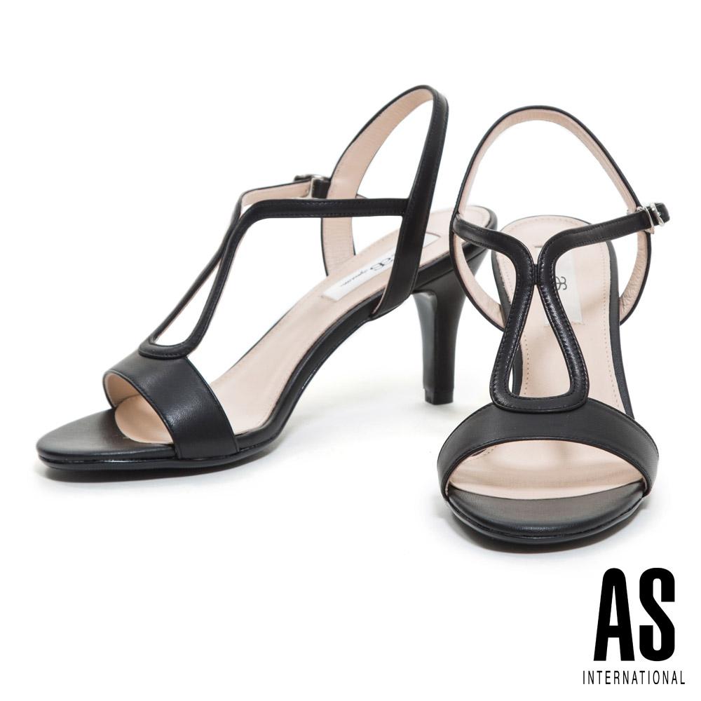 涼鞋 AS 優雅時尚性感繫帶全真皮高跟涼鞋-黑