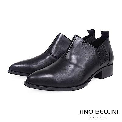 Tino Bellini 義大利進口摩登雅痞女郎低跟皮鞋 _ 黑