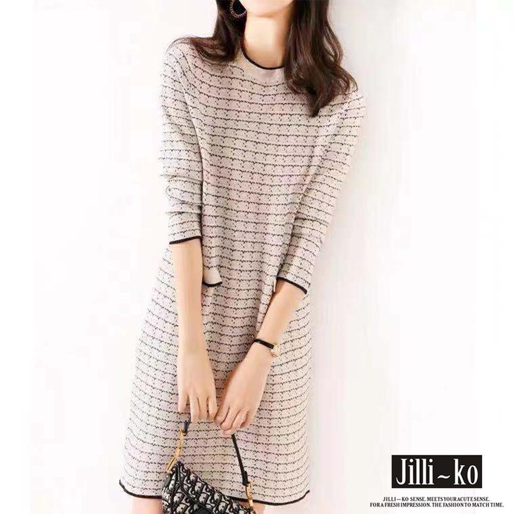 JILLI-KO 法式小香風針織連衣裙- 白/黑