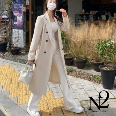 外套 正韓雙排釦綁帶側開衩長版風衣外套(米白)N2