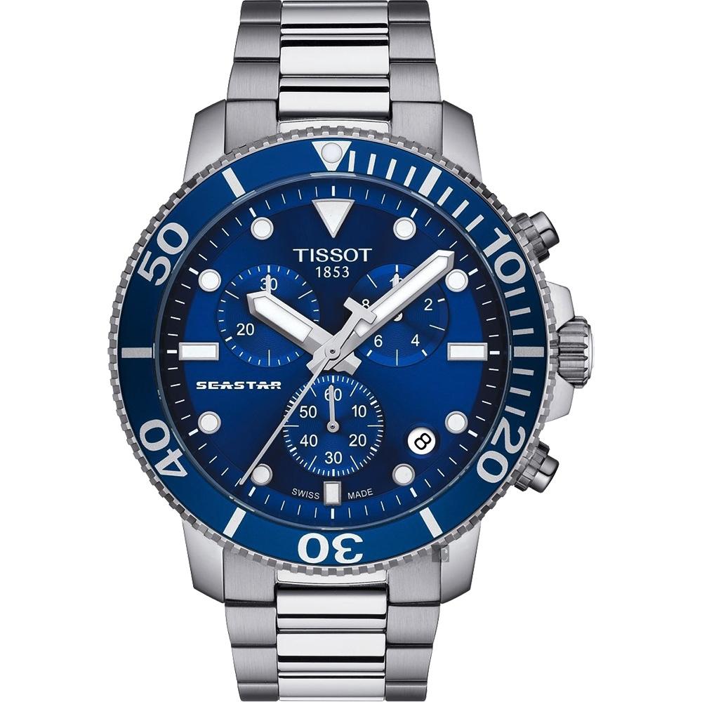 TISSOT 天梭 Seastar 1000 海洋之星300米潛水計時錶-藍x銀/45mm
